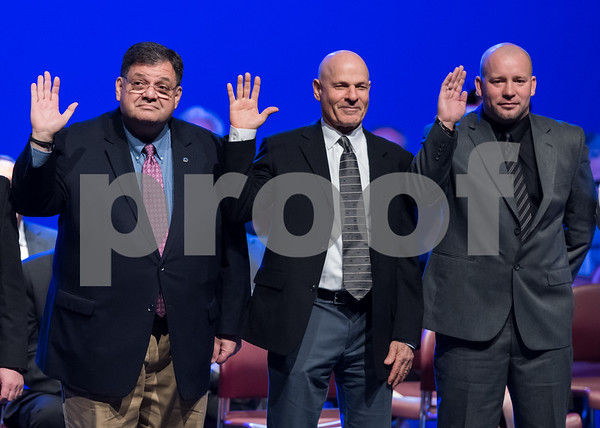 11/14/17 Wesley Bunnell | Staff The inauguration of Mayor Erin E. Stewart and other elected officials was held on Tuesday morning at New Britain High School. Common Council members Carlo Carlozzi, Jr, Aram Ayalon and Francisco Santiago.