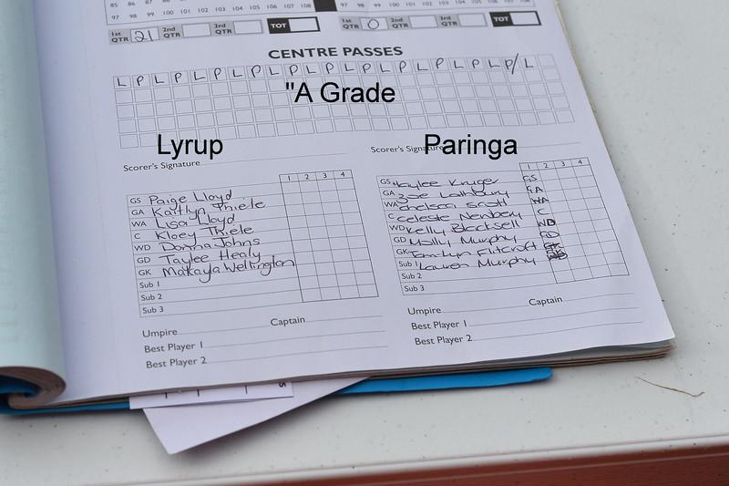 """""""A"""" Grade Lyrup v Paringa"""