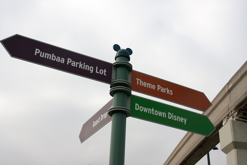 Signs point the way to the various [distant] parking areas. No more front-seat parking!