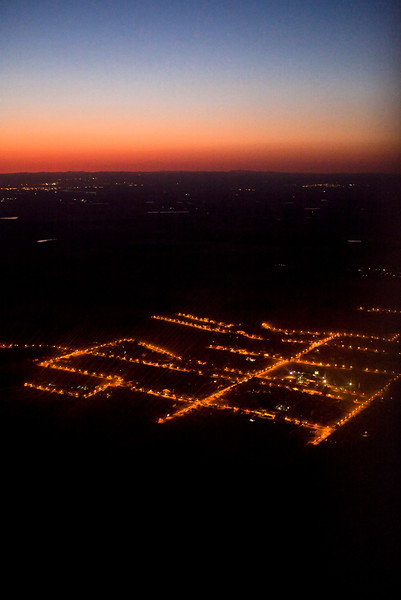 Aerial view from a plane of the outskirts of Seville, Spain,