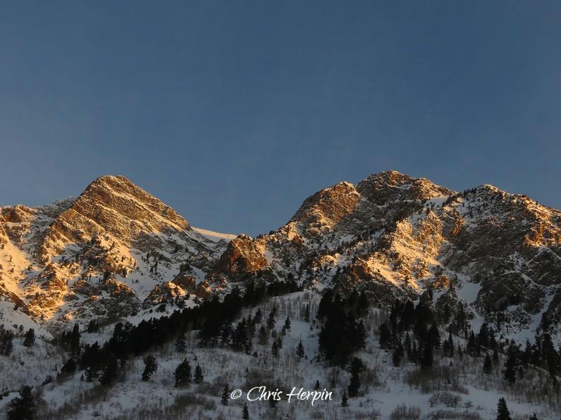 Morning sun on Wasatch Mountains, Utah