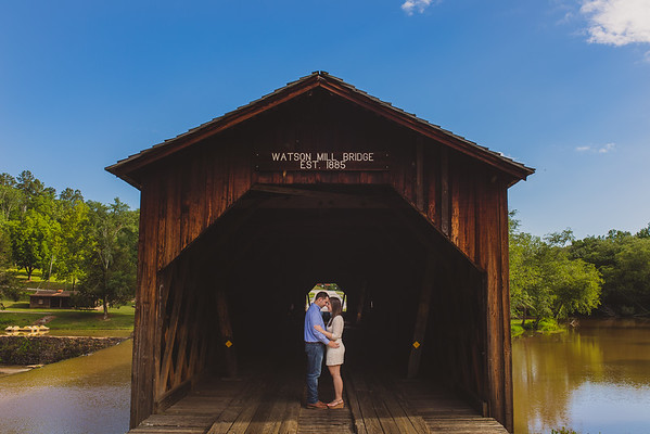 "Ashley & Matt's Engagement ""All Jokes Aside"" At Watson Mill near Athens, GA."