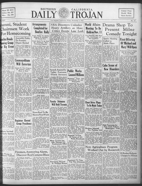 Daily Trojan, Vol. 25, No. 30, November 03, 1933