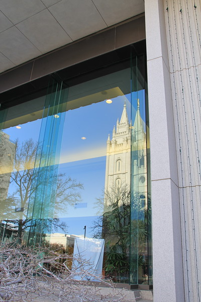 20161124-19 SLC LDS Temple reflected on Temple Square North Visitors' Center.JPG