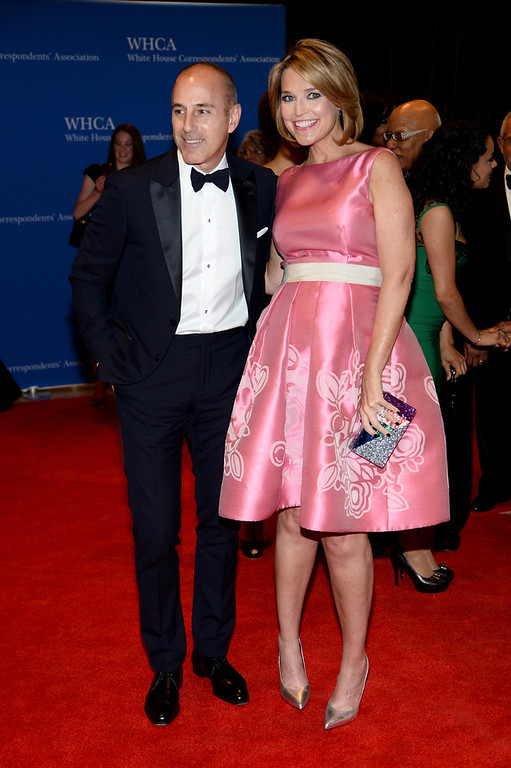 . Matt Lauer and Savannah Guthrie attend the 100th Annual White House Correspondents\' Association Dinner at the Washington Hilton on May 3, 2014 in Washington, DC.  (Photo by Dimitrios Kambouris/Getty Images)