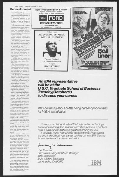 Daily Trojan, Vol. 75, No. 10, October 02, 1978
