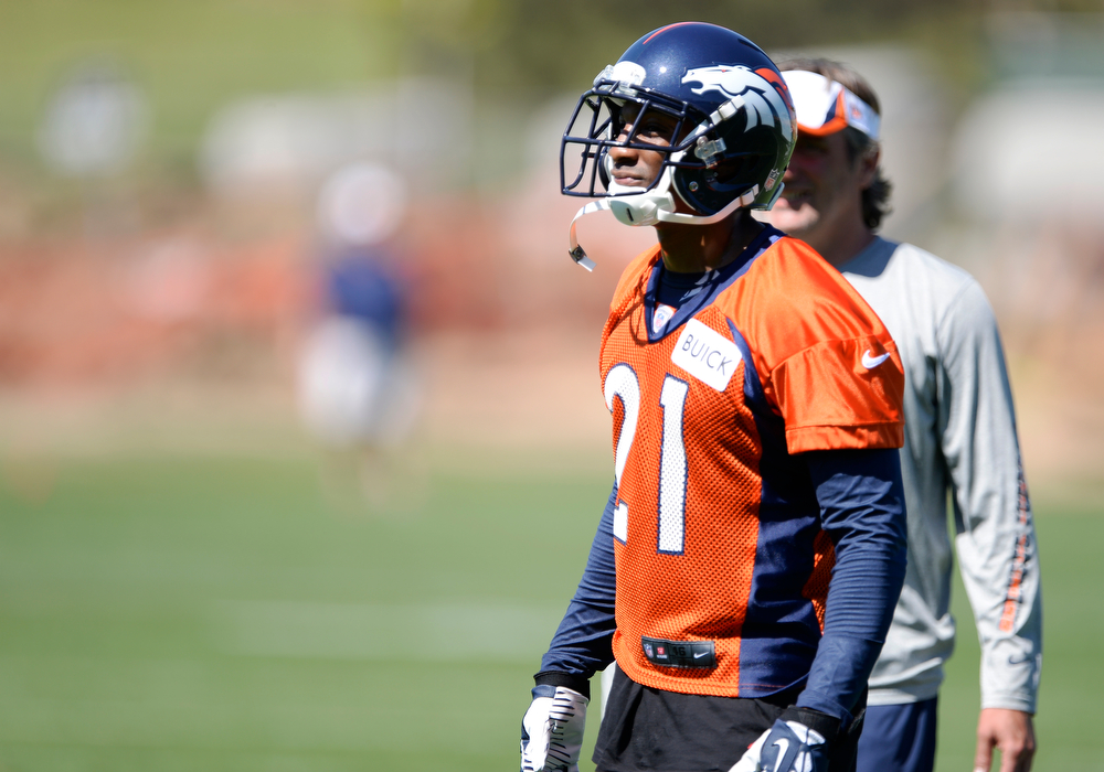 . Denver Broncos Aqib Talib (21) looks on during practice May 28, 2014 at Dove Valley. (Photo by John Leyba/The Denver Post)