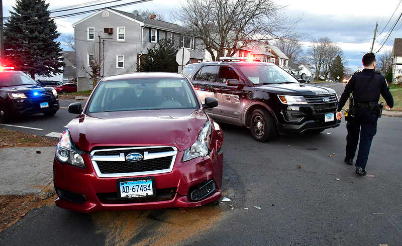 11/29/2018 Mike Orazzi | Staff The scene of a two-car crash at the intersection of Willis and East Streets in Bristol Thursday afternoon. No injuries were reported.