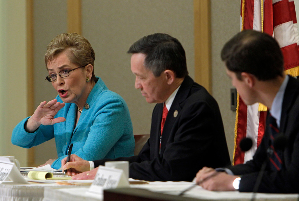 . U.S. Rep. Marcy Kaptur, left, makes a point during a debate with U.S. Rep. Dennis Kucinich, center, and businessman Graham Veysey at the City Club in Cleveland Monday, Feb. 20, 2012. The two sitting congressmen and outsider Veysey are competing in the Democratic primary for the new 9th District in northern Ohio. (AP Photo/Mark Duncan)
