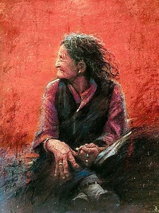 """Grandma's bent hands"" (soft pastel) by Fabang Pei"