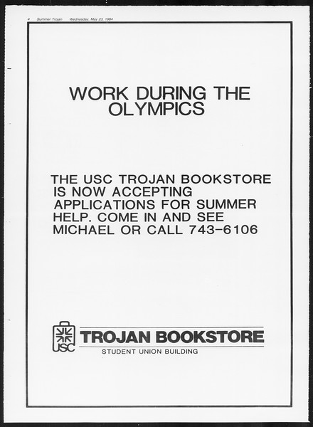 Summer Trojan, Vol. 96, No. 1, May 23, 1984