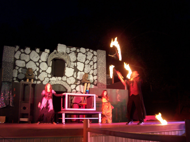 (blurry) Fire torch juggling.