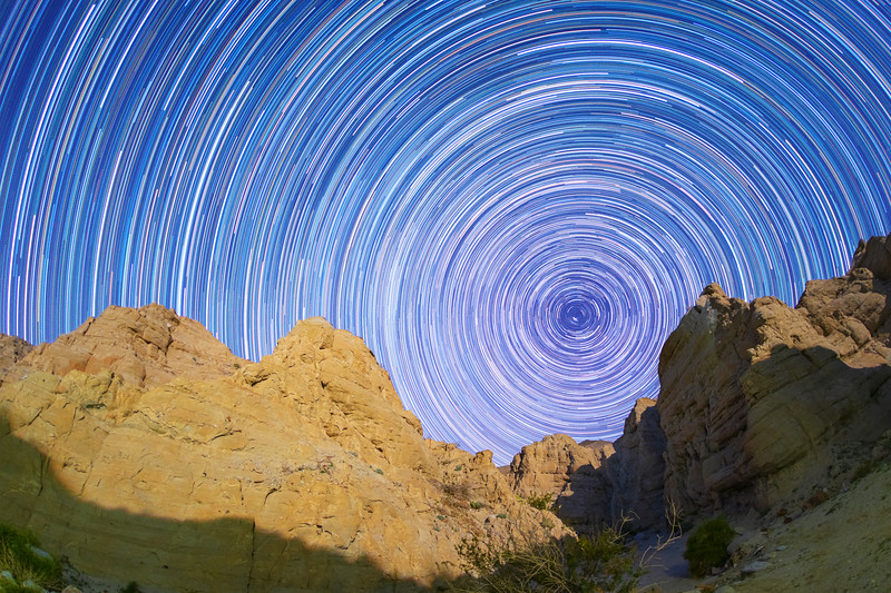 Star Trails Over A Canyon In The Anza-Borrego Desert