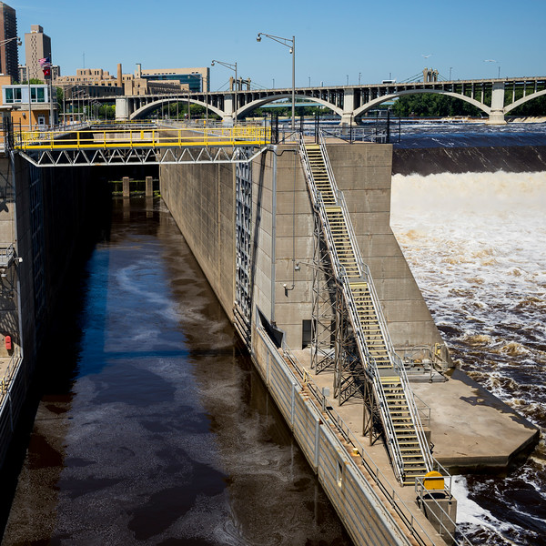 Lock and Dam No. 1 on the Mississippi River, Minneapolis, Hennepin County, Minnesota, USA