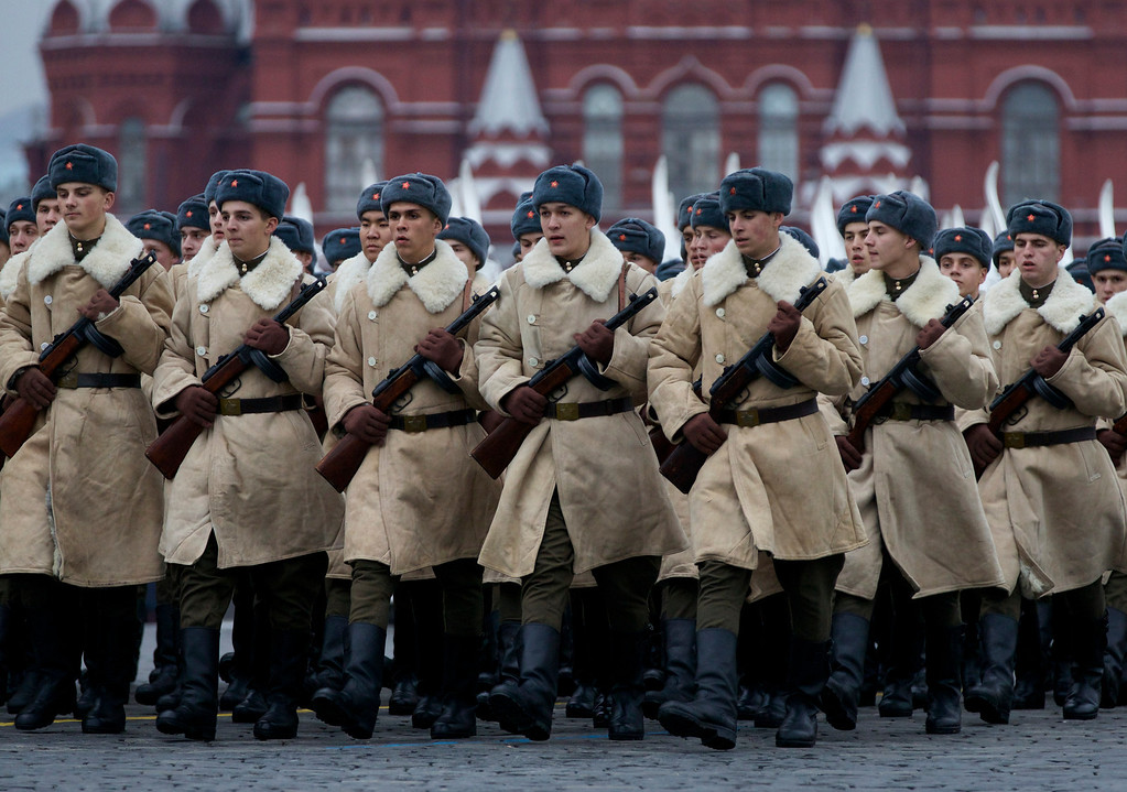. Russian soldiers dressed in Red Army World War II uniform march during a parade in Red Square in Moscow, Russia, Thursday, Nov. 7, 2013.Thousands of Russian soldiers and military cadets marched across Red Square to mark the 72nd anniversary of a historic World War II parade. The show honored the participants of the Nov. 7, 1941 parade who then headed directly to the front to defend Moscow from the Nazi forces. (AP Photo/Alexander Zemlianichenko)