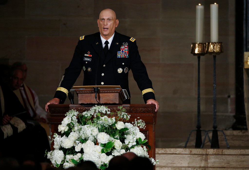. Army Chief of Staff Ray Odierno speaks during funeral services for Vice President Joe Biden\'s son, Beau Biden,  Saturday, June 6, 2015, at St. Anthony of Padua Church in Wilmington, Del. Biden, Vice President Joe Biden\'s eldest son, died at the age of 46 after a battle with brain cancer. (Kevin Lamarque/Pool Photo via AP)