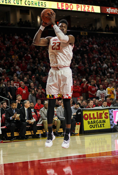 January 14, 2019: Maryland forward Bruno Fernando (23) grabs a rebound during BIG Ten Men Basketball action between University of Wisconsin and University of Maryland in College Park. Photo by: Chris Thompkins/Prince Georges Sentinel