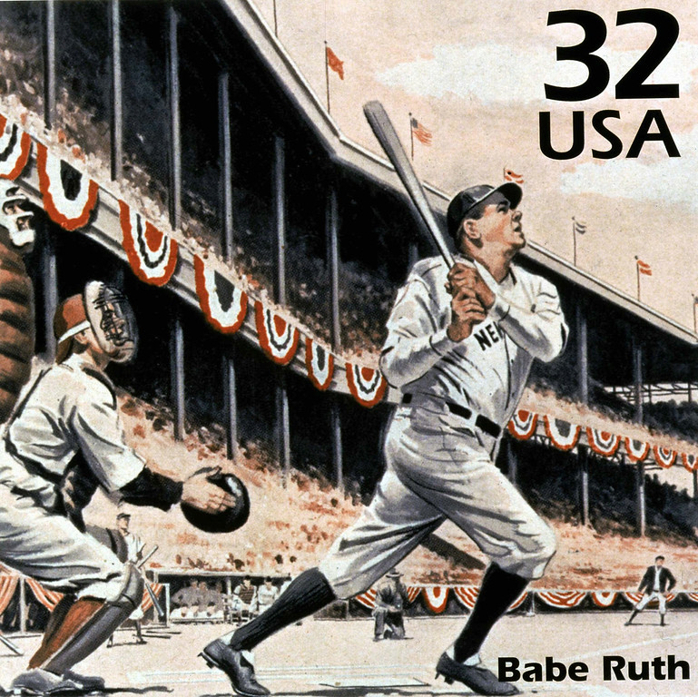 . Former New York Yankees slugger Babe Ruth is featured in a new stamp that was unveiled Tuesday, May 19, 1998 at Yankee Stadium before the Yankees game against the Baltimore Orioles. (AP Photo)