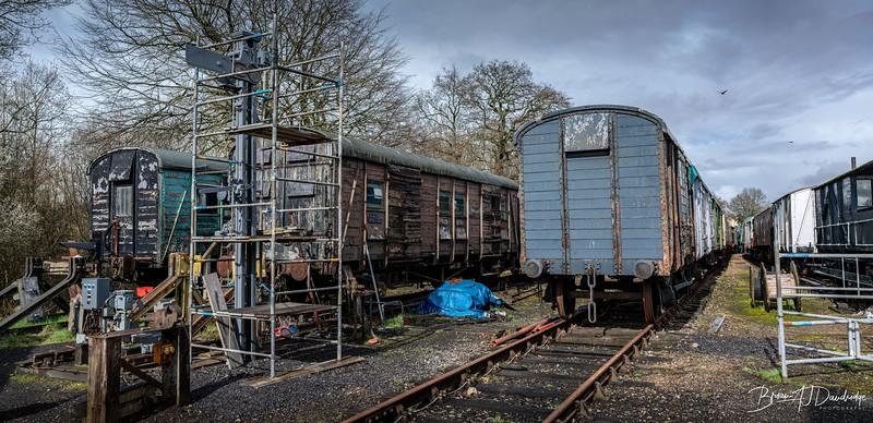 """Storage yard for numerous """"derelict"""" wagons awaiting restoration"""