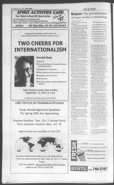 Daily Trojan, Vol. 144, No. 9, September 11, 2001