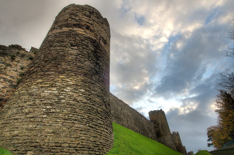 Looking up tower in Chepstow Castle, Wales