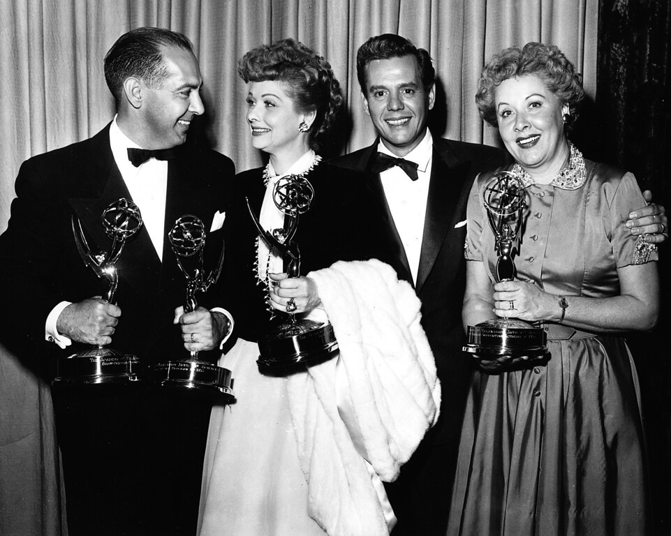 ". HOLLYWOOD, CA - FEBRUARY 11,1954: (L-R) CBS program chief Harry Ackerman with ""I Love Lucy\"" co-stars Lucille Ball, Desi Arnaz and Vivian Vance pose at the Academy of Television Arts & Sciences 6th Emmy Awards held at the Hollywood Palladium on February 11, 1954 in Hollywood, California. (TVA/PictureGroup) (Photo by TVA/PictureGroup/Invision for the Academy of Television Arts & Sciences/AP Images)"