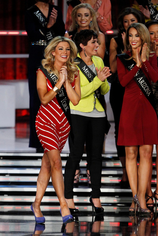 . Mallory Hytes Hagan, Miss New York, reacts as she is named as a semi-finalist during the Miss America Pageant in Las Vegas January 12, 2013. Hagan was later named Miss America 2013. REUTERS/Steve Marcus