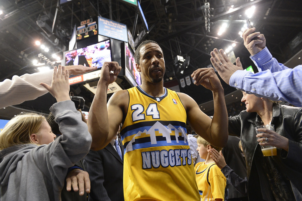 . DENVER, CO. - APRIL 20: Denver Nuggets point guard Andre Miller (24) leaves the court after scoring the game-winning basket. The Denver Nuggets took on the Golden State Warriors in Game 1 of the Western Conference First Round Series at the Pepsi Center in Denver, Colo. on April 20, 2013. (Photo by John Leyba/The Denver Post)
