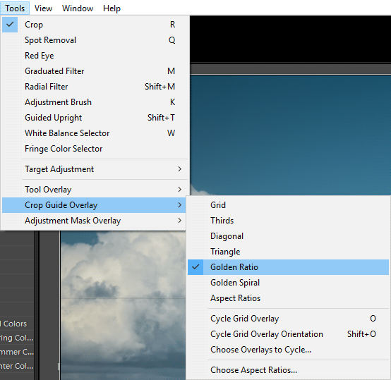 Setting Golden Ration Grid in Lightroom