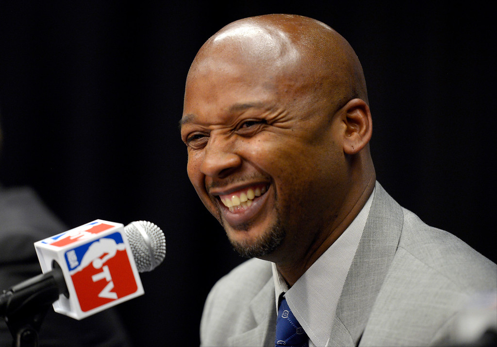 . The Denver Nuggets new head coach Brian Shaw smiles after being introduced during a press conference on June 25, 2013 at Pepsi Center. (Photo By John Leyba/The Denver Post)