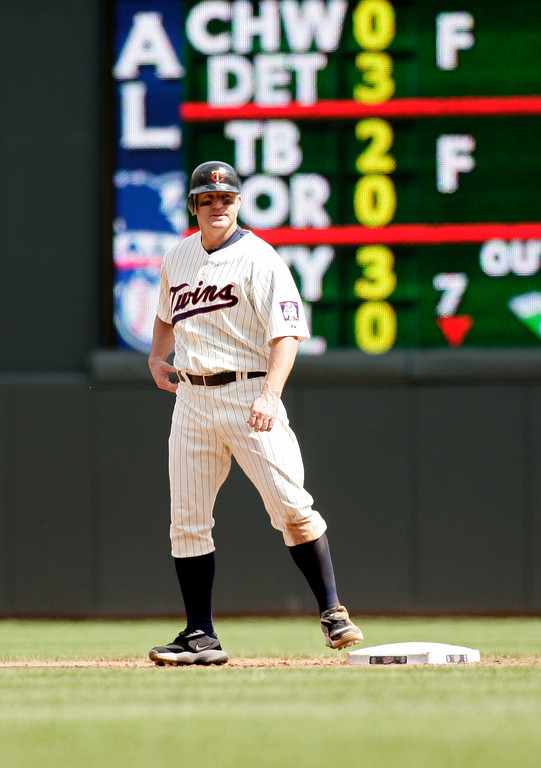 . Minnesota Twins designated hitter Jim Thome plays against the Cleveland Indians during a baseball game, Sunday, April 24, 2011, in Minneapolis.  Minnesota won 4-3. (AP Photo/Paul Battaglia)