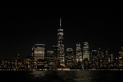 New York, NY - September 25:  View of the Manhattan Skyline, at night, from, New York, USA.