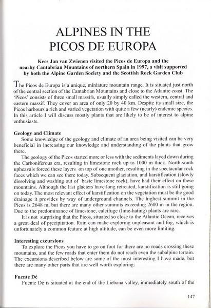 Alpines in the Picos de Europa, Kees Jan van Zwienen, June 1999