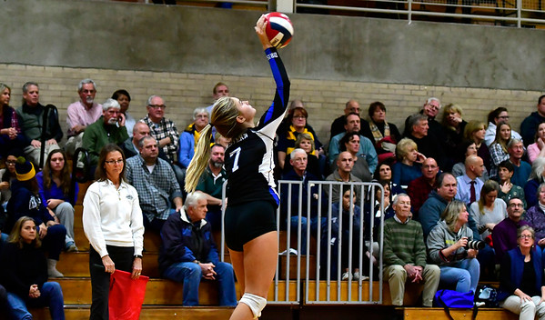 11/14/2018 Mike Orazzi   Staff Bristol Eastern's Zoe Lowe (7) during the Class L Semifinal State Girls Volleyball Tournament with Woodstock Academy held at Windsor High School Wednesday night.