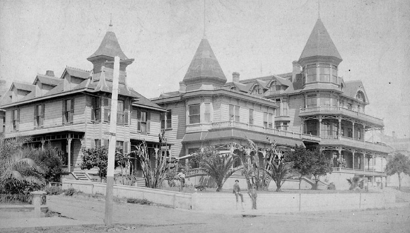 Exterior view of the Bellevue Terrace boarding house, located at Sixth Street and Pearl Street (now Figueroa Street), ca.1890-1899