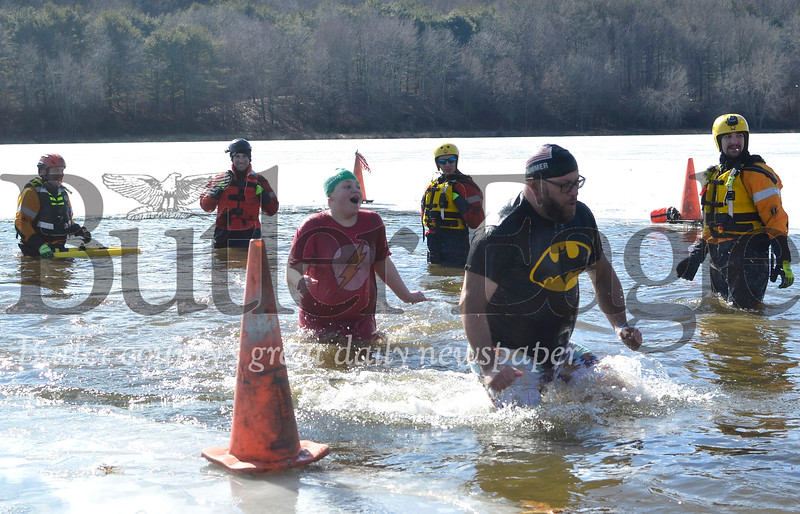Members of the Butler County Water Rescue Team 300 watched over participants in Saturday's Douse for a House event at Lake Arthur. The event drew 67 people who plunged into the icy waters at Moraine State Park, Muddy Creek Township. Tanner Cole/Butler Eagle