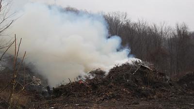 Controlled Burn, Brush Pile, Sewer Plant Road, Tamaqua (3-28-2014)
