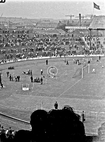 Only half of this negative survives, but it shows the northwest corner of Ibrox Park, on the occasion of the  Glasgow Police Sports, of which the 5-a-side football tournament between leading clubs was always the highlight, for me at least. I believe that is Ronnie Simpson in goal, playing for Hibs, which would date it to between 1960 and 1964.