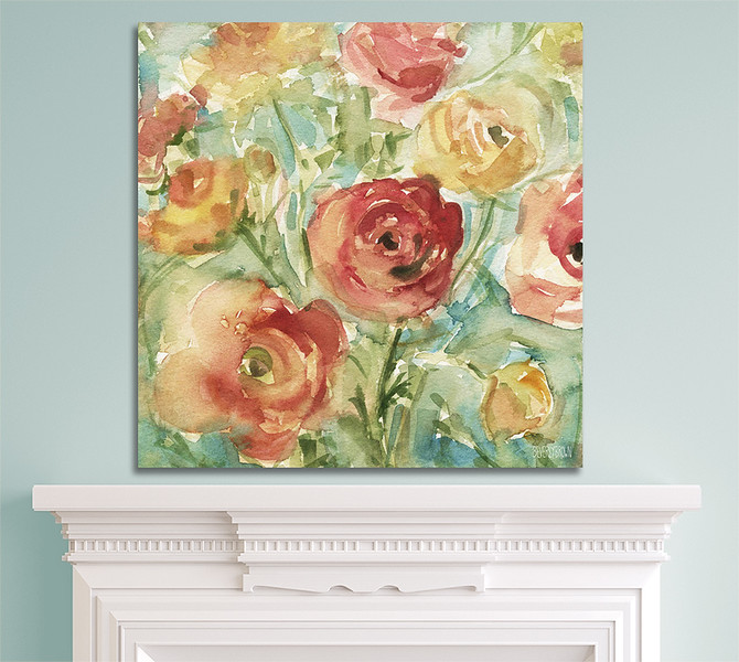 Red Orange and Yellow Ranunculus large canvas wall art over a living room fireplace mantle in a room with aqua blue walls. Watercolor Painting Print by Beverly Brown. This beautiful floral print is painted in shades of light orange, golden yellow, light red and spring green with a touch of teal green. Perfect for shabby chic, farmhouse, modern rustic, traditional or transitional decor. Available on canvas, metal, acrylic or fine paper in multiple sizes with custom framing - beverlybrown.com