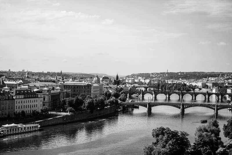 Prague View Sunny Day Bridges Mono.jpg