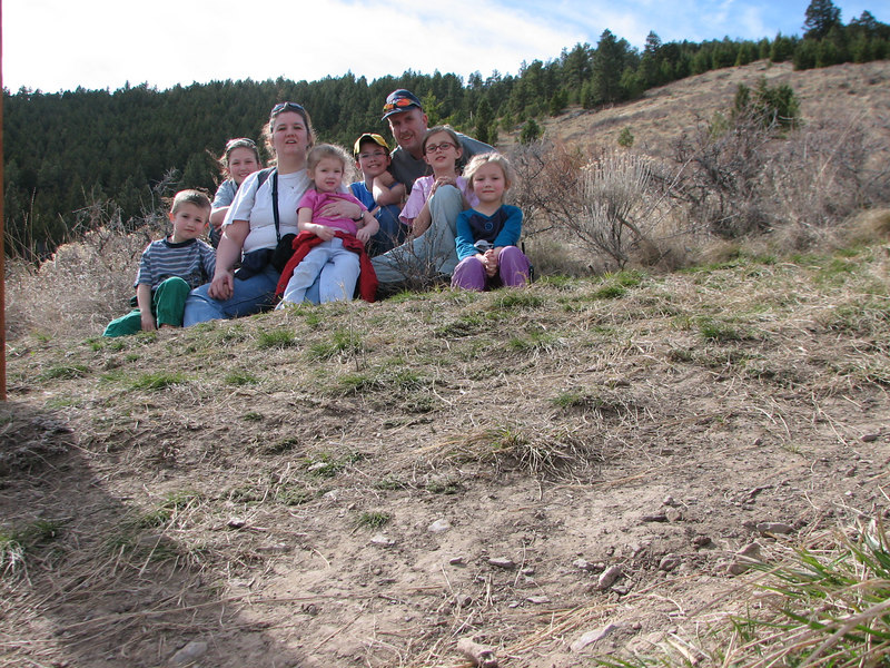 on the side of Mt. Helena...Justin, Frances, Laura, Katherine, Jon, David, Heather, and Leah