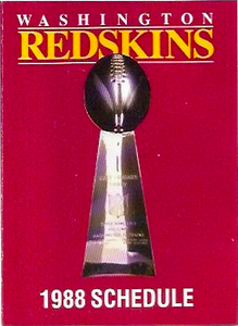 1988 Redskins Frito Lay Schedules