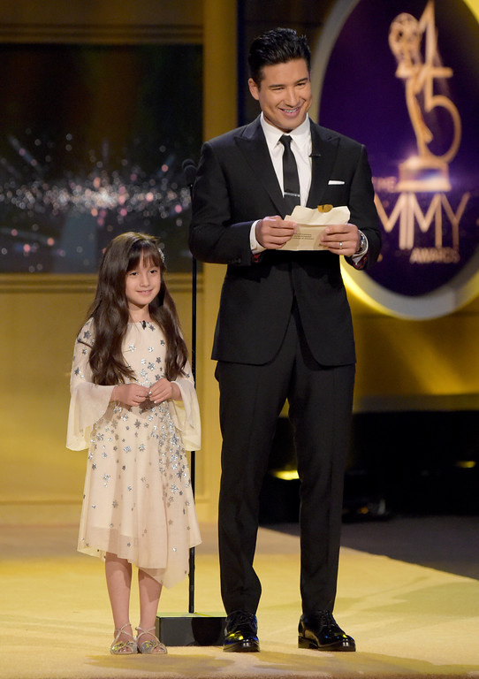 . Mario Lopez, right, and daughter Gia Francesca Lopez present an award at the 45th annual Daytime Emmy Awards at the Pasadena Civic Center on Sunday, April 29, 2018, in Pasadena, Calif. (Photo by Richard Shotwell/Invision/AP)