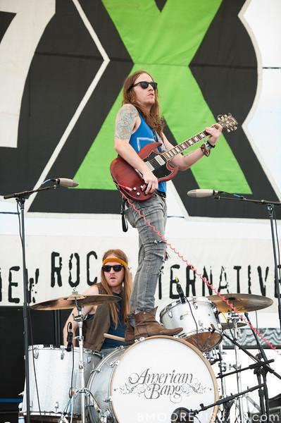 Neil Mason (drums) and Jaren Johnston of Amercian Bang perform at the 97x Backyard BBQ at Vinoy Park in St. Petersburg, Florida on May 29, 2010.
