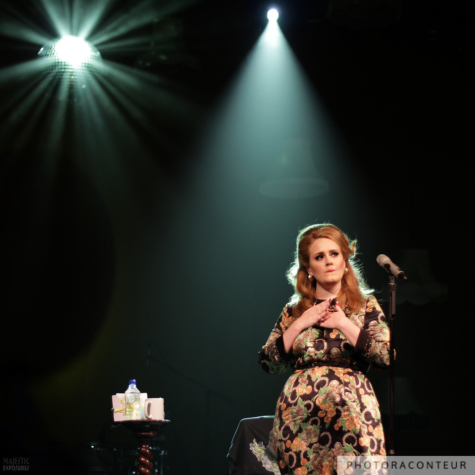 """Adele performing Bob Dylan's """"To Make You Feel My Love"""" in Las Vegas on August 20, 2011.  She dedicated this song to Amy Winehouse.  (Photo by Benjamin Padgett)"""