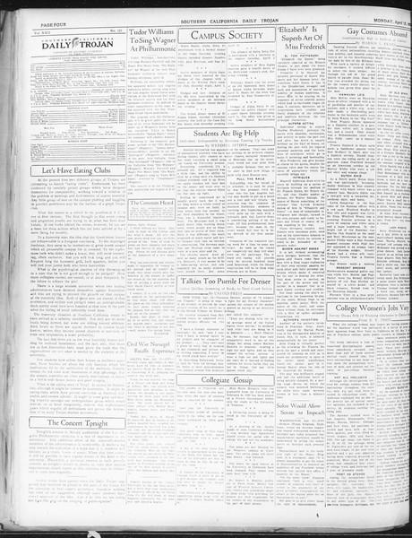 Daily Trojan, Vol. 22, No. 121, April 13, 1931