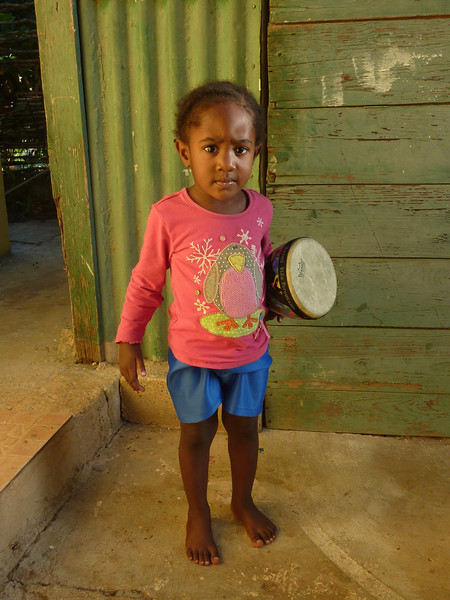 """""""Lucky Baby"""" and Her New Drum, Billies Bay, Jamaica"""