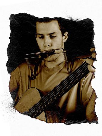 Stephen and Guitar - Framed