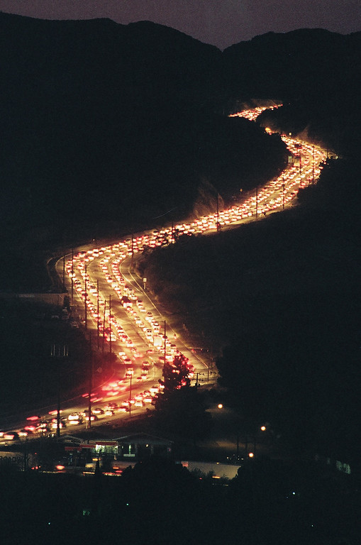 . Traffic snakes along Sierra Highway in Canyon Country early on the moring of Jan. 21 as commuters try to get through Newhall Pass.   Los Angeles Daily News file photo
