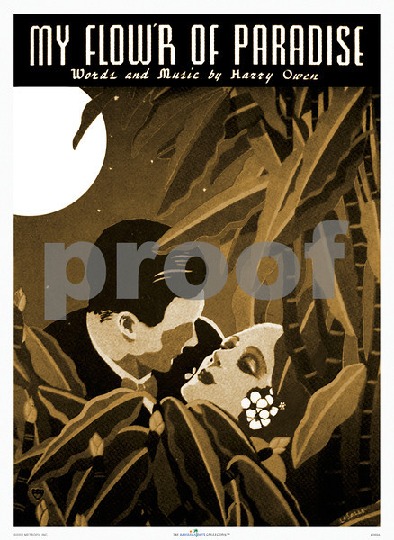 089: Vintage Hawaiian music cover art, titled 'My Flower Of Paradise' by LaSalle. Ca. 1937. (PROOF watermark will not appear on your print)